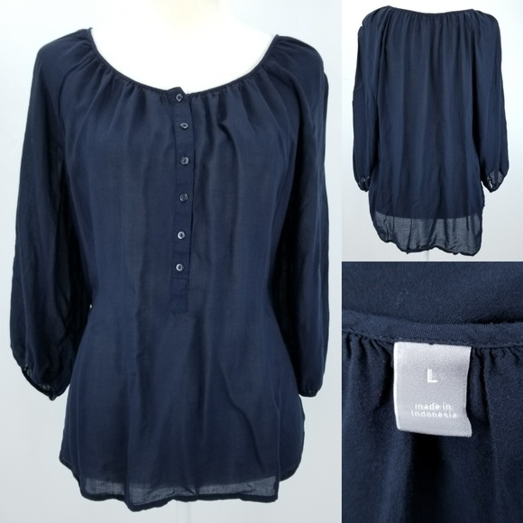bb5c27e85f9 jcpenney Tops - JCP Navy Blue Flowy Rayon 3 4 Sleeve Peasant Top L